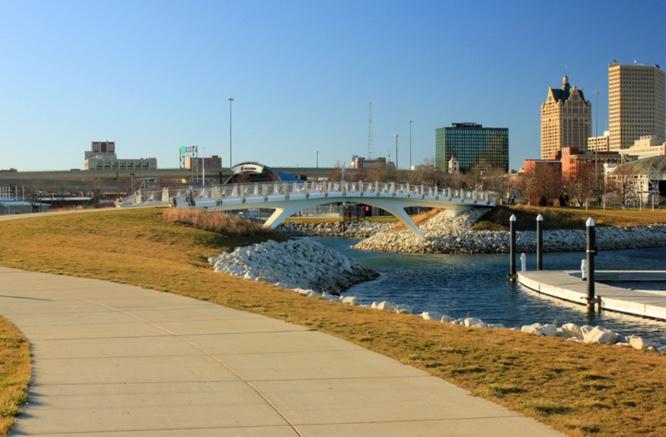 View of bridge to Lakeshore Park in Milwaukee WI